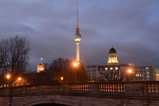 television tower berlin Architecture Berlin Blue Hour Capital Cities  City City Life Cityscape Evening Famous Place Fernsehturm Illuminated International Landmark Night No People Old Townhouse Outdoors Red Town Hall Sky Tall - High Television Tower Tourism Tower Travel Destinations