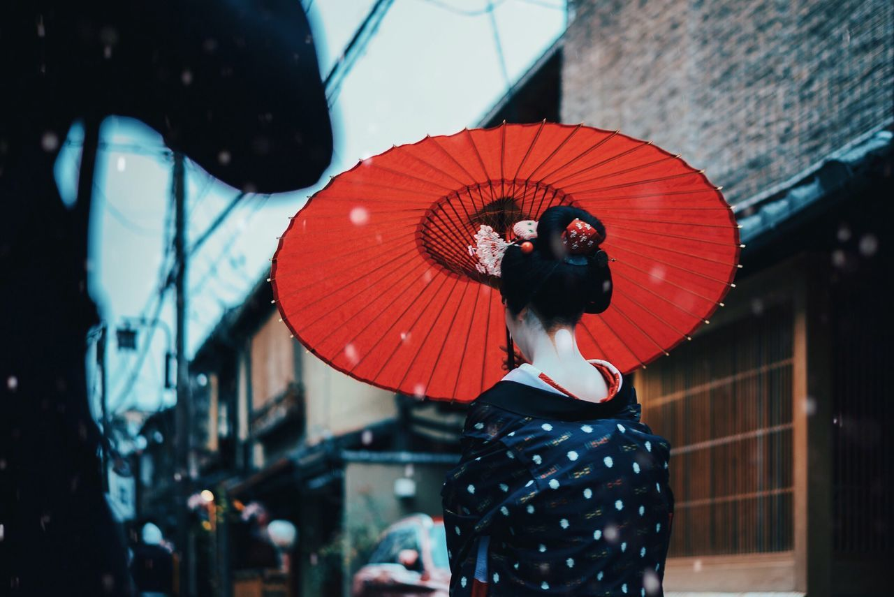 Japan street. Red Traditional Clothing One Person Rear View Japan Japanese Culture Kimono Geisha Maiko Kyoto, Japan Cultures