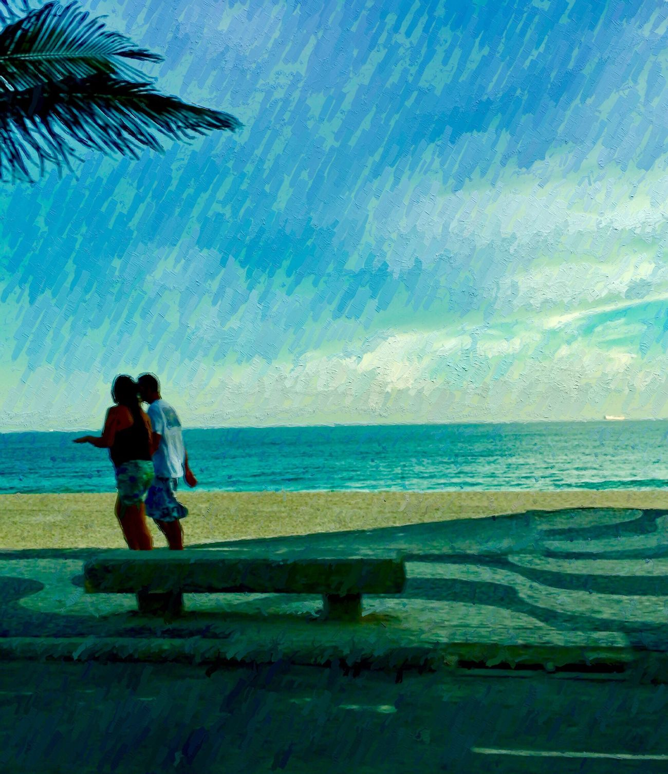 Mobile Conversations Two People Sea Blue Horizon Over Water Beauty In Nature Beach IPhoneography My City Is Beautiful Outdoors Walking