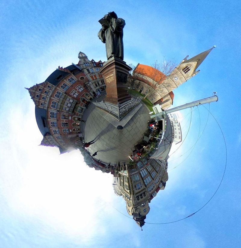 Digital Composite Blue Sky Travel Destinations City Futuristic Outdoors Cloud - Sky No People Clock Tower Distorted Image Day City Real People Christmas Market Christmas Lights RICOH THETA Panoramic Photography Panorama MiniPlants Miniplanete Thüringer Wald Miniplanet Panoramic Thuringen
