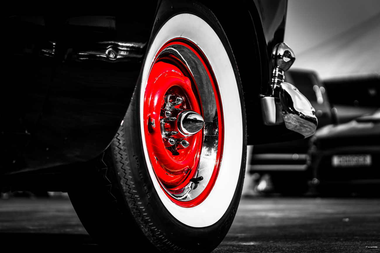 Black And White Blackandwhite Car Chrome Close-up Competition Darkness And Light Driving Ford Formula One Racing Motorsport Muscle Cars No People Racecar Red Shiny Sony Sony A6000 Sports Race Tire Tires Transportation US Cars USA Wheel