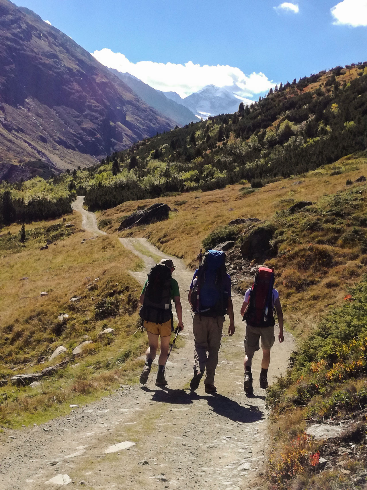 Group of hikers Adventure Backpack Beauty In Nature Day Full Length Grass Hiking Hiking Hikingadventures Landscape Lifestyles Men Mountain Mountain Range Nature Outdoor Outdoors People Real People Rear View Scenics Sky Sunlight The Great Outdoors - 2017 EyeEm Awards Togetherness