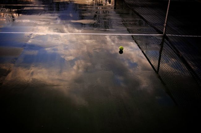 Blue Sky Reflection Puddle Rain Rain Reflection Rainy Court Reflection Tennis Tennis Ball Tennis Court Tennis 🎾 Tenniscourt Color Of Sport