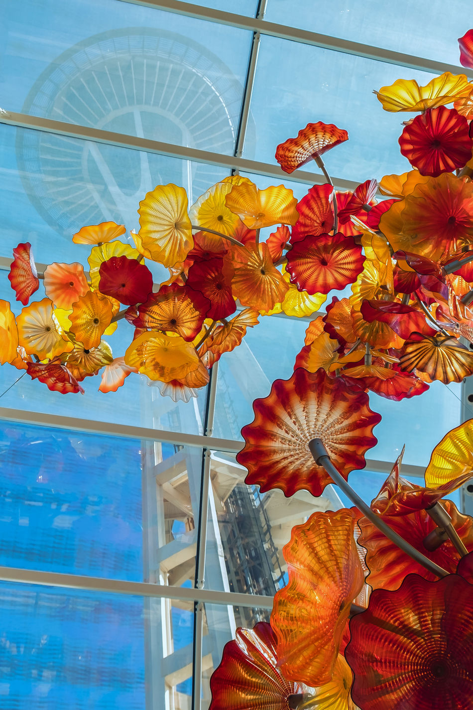 Architecture Autumn Blue Change Chihuly Chihuly Garden And Glass Close-up Day Flower Head Leaf Low Angle View Maple Leaf Multi Colored Nature No People Orange Color Outdoors Scenics Seattle Space Needle Sky Space Needle Yellow