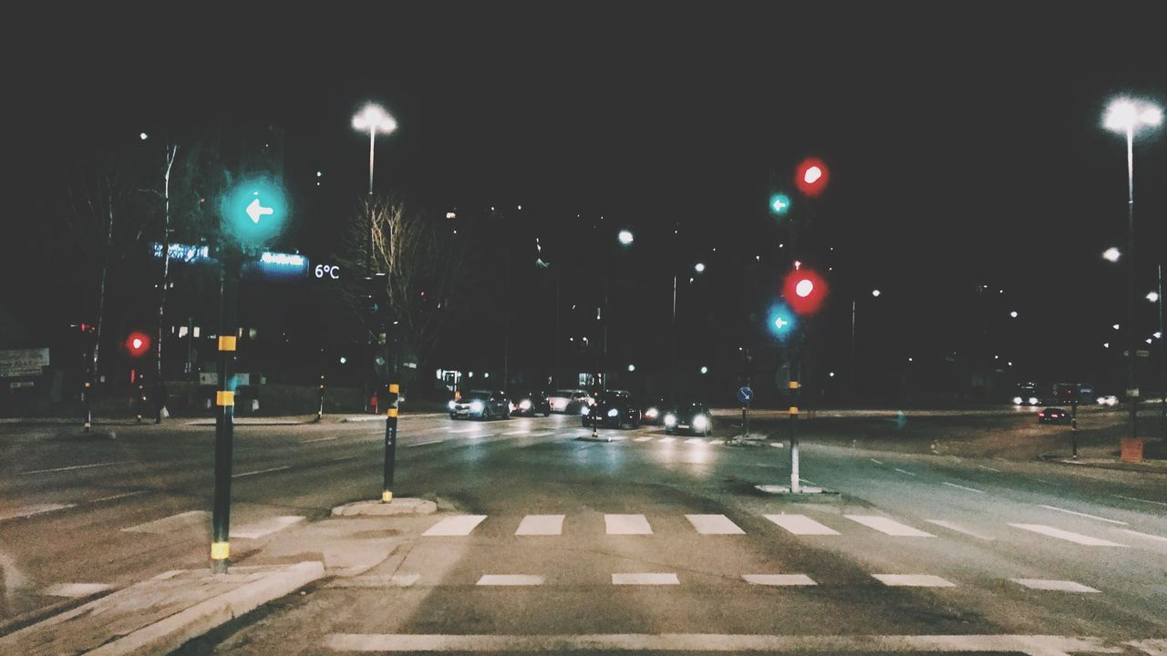 Drive! Night Outdoors Illuminated Transportation City No People Road Sky Traffic Lights Traffic Road Road Sign Cars Auto Night Lights Nightphotography