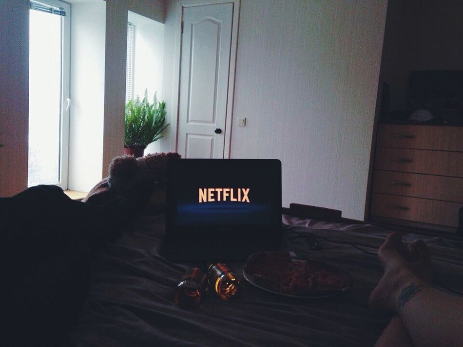 Indoors  Text Archival No People Day Netflix Netflix Time Pizza