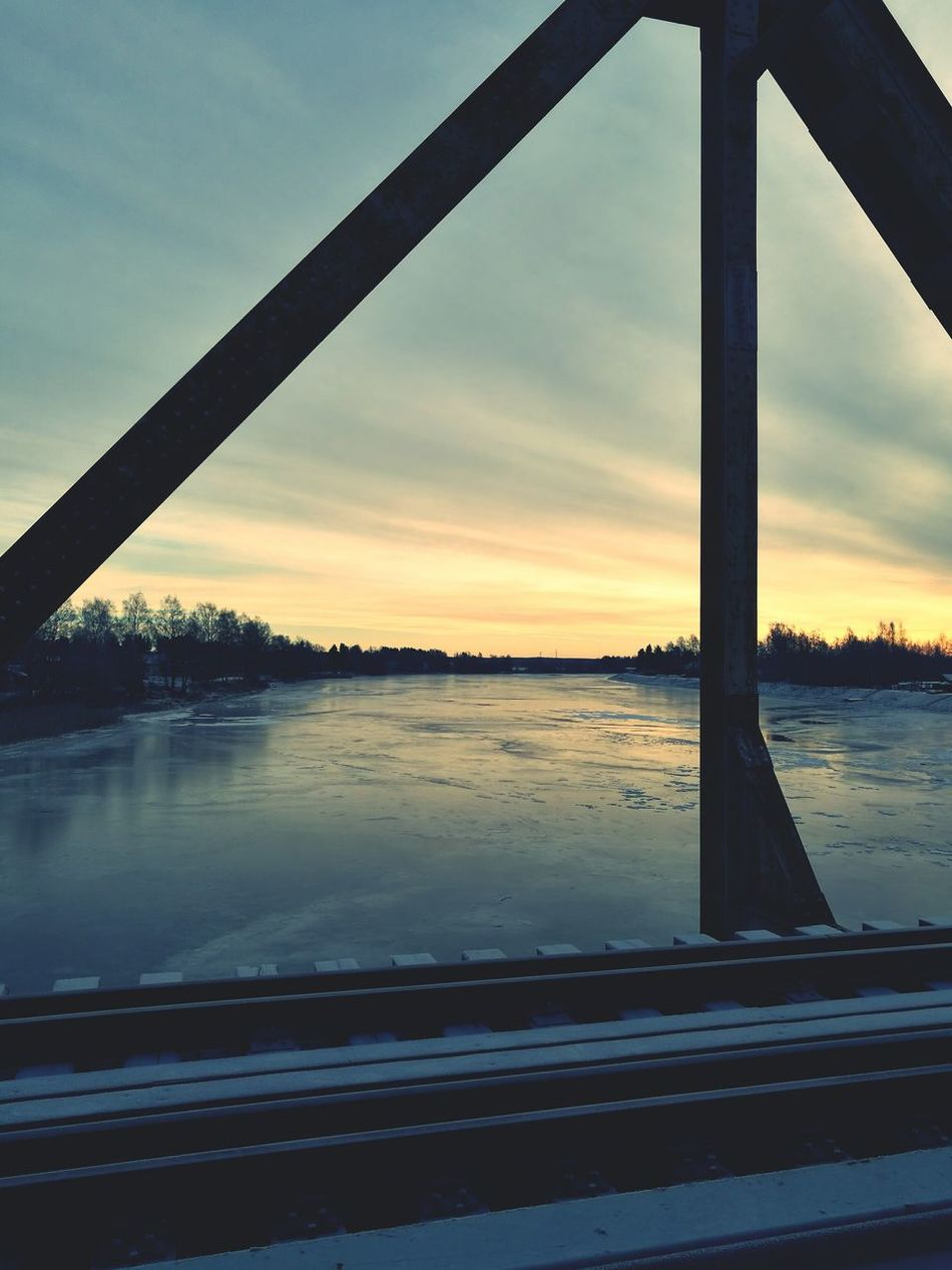 Old Railway Bridge Iced River ❄ Cold Temperature Sky Colors Wintertime