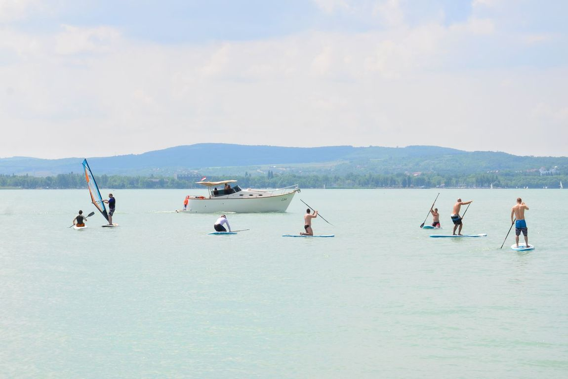 Water People Lake Stand Up Paddling Sport Watersport Summer Tihany Aquatic Sport Balaton Hungary Sup Motorboat Summer
