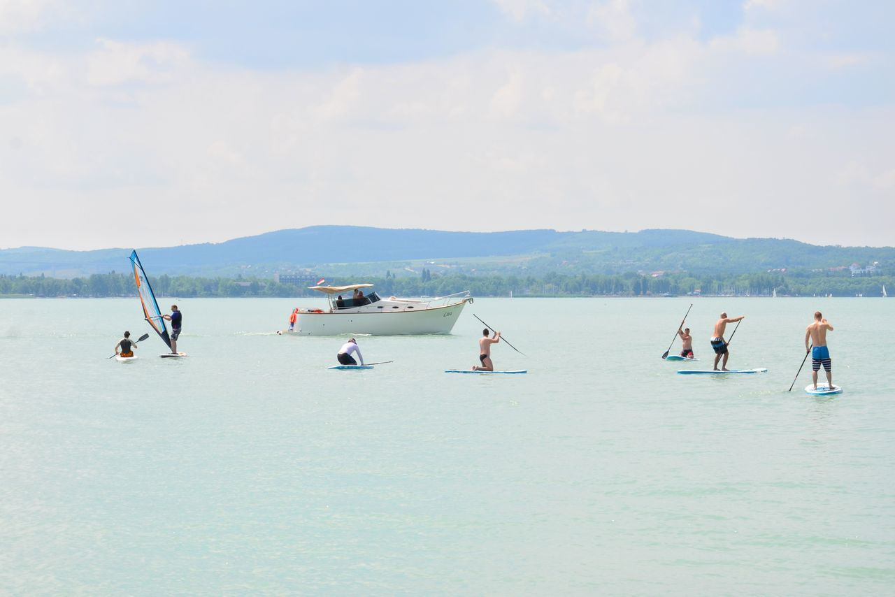 Water People Lake Stand Up Paddling Sport Watersport Summer Tihany Aquatic Sport Balaton Hungary Sup Motorboat Summer