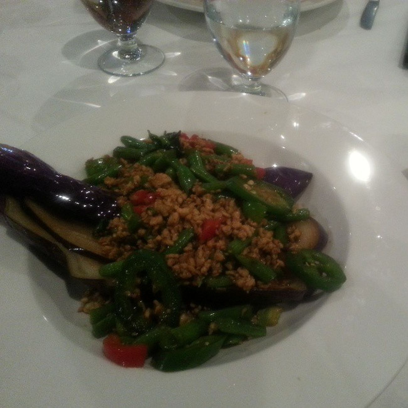 Goodbye Lunch for a dear Friend . Eggplant and Basil greenpepper redpepper greenBeans groundChicken
