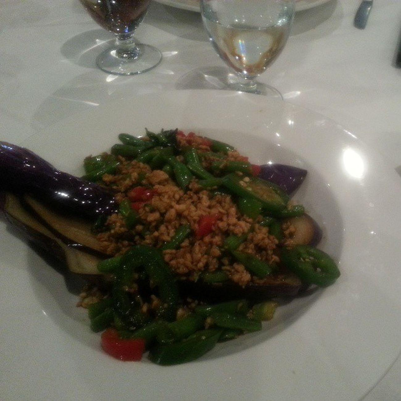 Goodbye Lunch for a dear Friend . Eggplant and Basil greenpepper redpepper greenBeans groundChicken