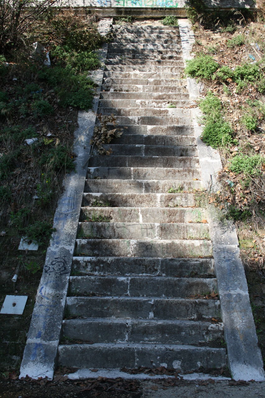 steps, staircase, steps and staircases, stairs, outdoors, high angle view, day, no people, built structure, architecture, nature