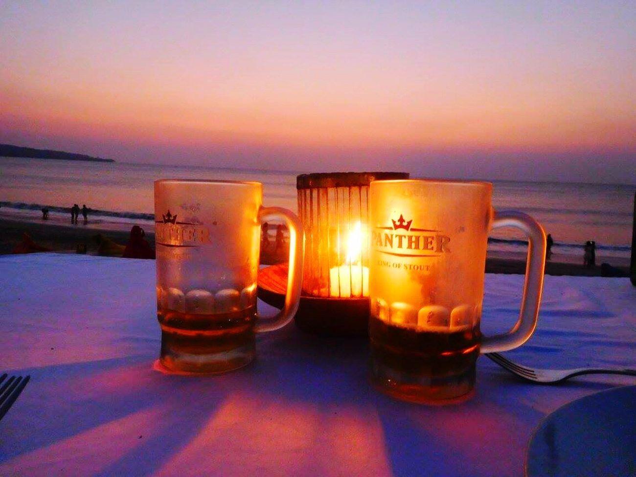 Sunsets and beers🍻 Bali, Indonesia Bali Honeymoon Beer Bintang Beer Table With A View Beach Photography Beach Sunsets Beer Mug Mugs