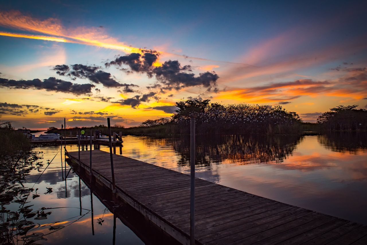 Last nights sunset in the Everglades Water Sunset Sky Reflection Nature Lake Tree Pier Tranquility Beauty In Nature Scenics Cloud - Sky Outdoors No People Nautical Vessel Vacations Day