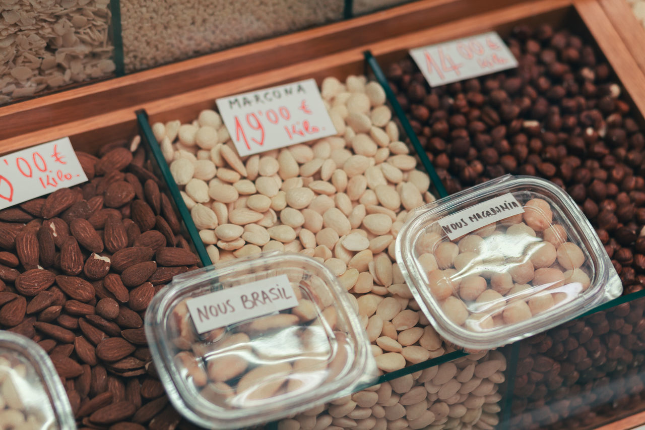 Almond Almonds Choice Day Dried Food Dried Fruit Food Food Staple Hazelnut Healthy Eating Market No People Outdoors Price Tag Retail  Variation