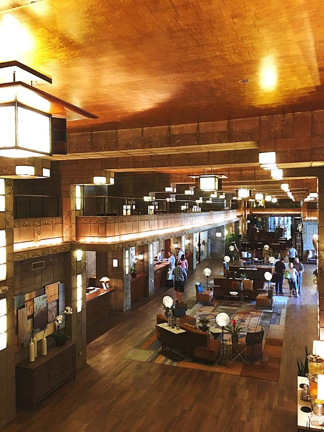 Arizona Resorts Resort Travel Destinations Travel Traveling Waldorf Astoria Frank Lloyd Wright Lobby Gold Ceiling