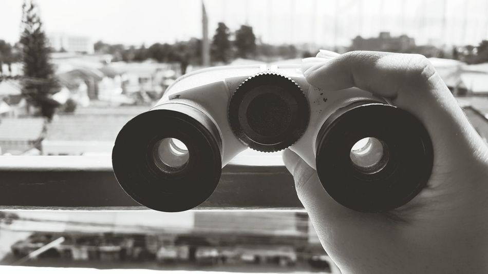 Binocular View View From The Window... City Citylife Outdoors Toy Zoom Home Land Len Binoculars Camera Black And White Sepia Apartment Life