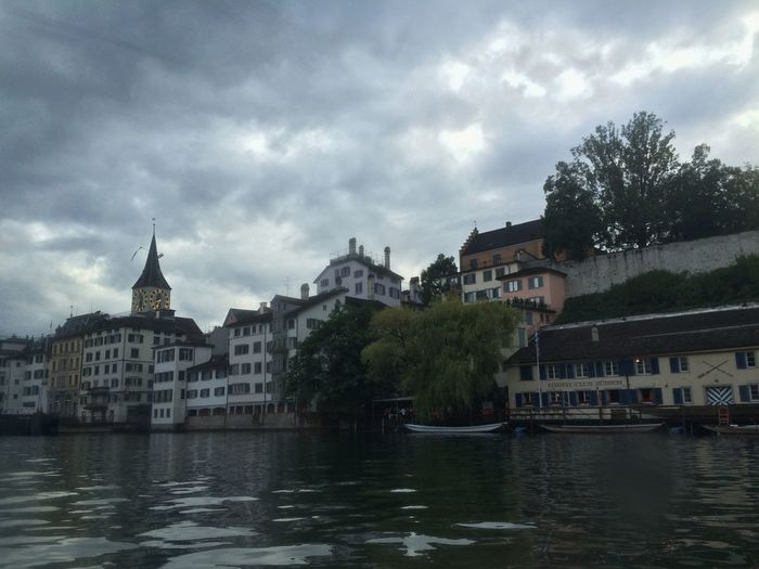 Limmat River Old Town St. Peter Schipfe Limmatschiff Cloudy Clouds IPhoneography IPhone 5S