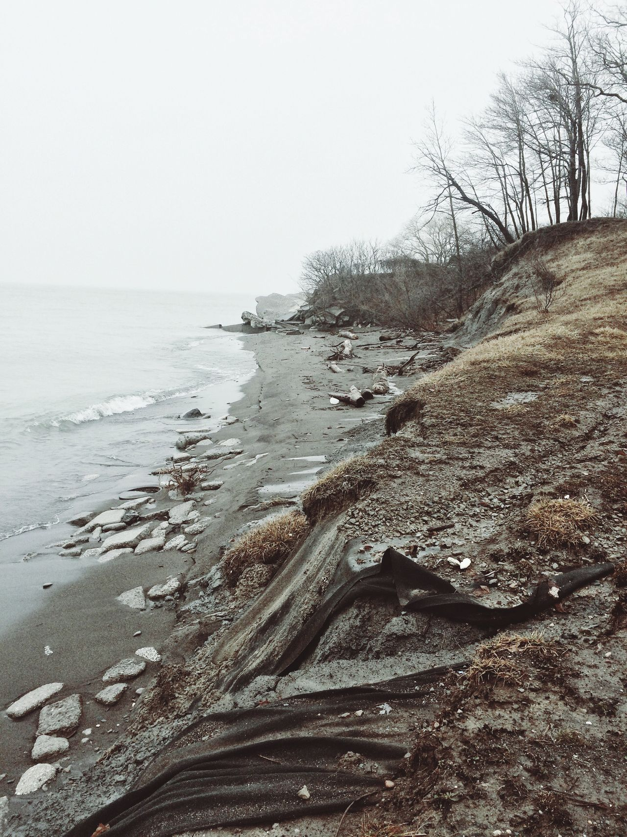 Erosion Nature Outdoors Beach Water Gloomy Weather Lake Erie