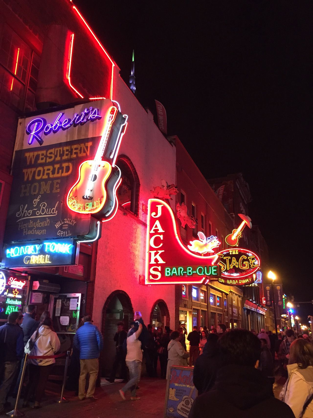 Illuminated Neon Night Nightlife Leisure Activity Restaurant Outdoors Food And Drink Communication Food And Drink Industry Text City Large Group Of People People Architecture Fast Food Sky Adults Only Adult Nashville Broadway
