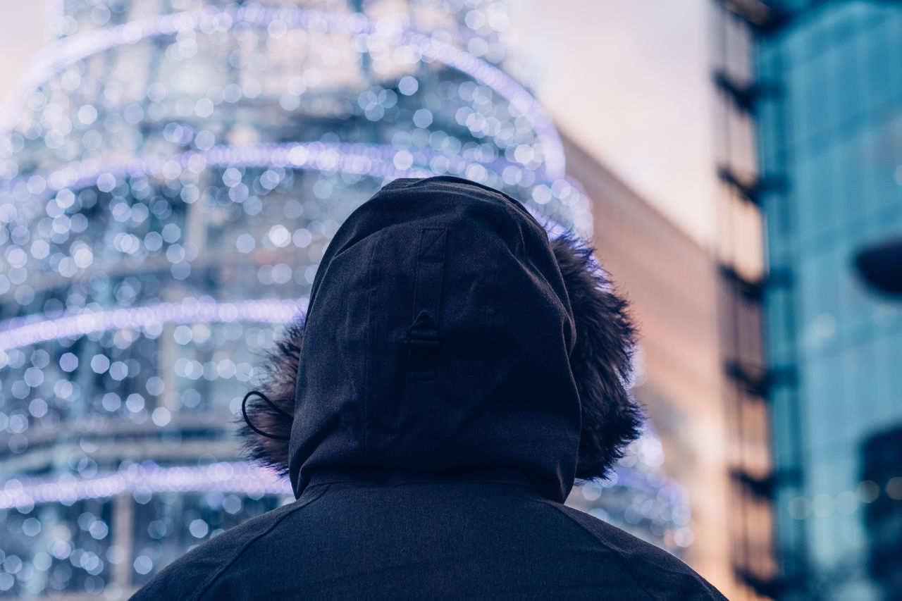 Christmas Christmas Tree City Fur Hood Jacket Neon Urban Wildlife Winter