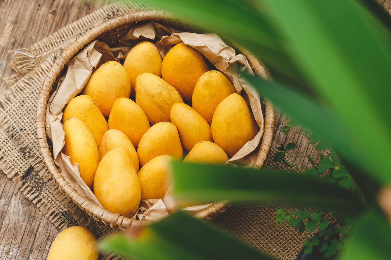 Fresh ripe mangoes ASIA Backgrounds Bamboo Basket Food Food Art Fresh Fruit Healthy Food Little Mango Mangoes Nature Nutrition Old Wood Plant Sweet Tasty Tropical Viet Nam Vitamin Yellow
