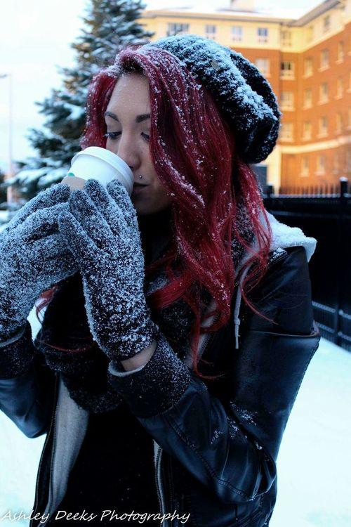 Outdoor Photography UofA Portrait University Of Akron College Campus Life Students Portraits Snow Starbucks