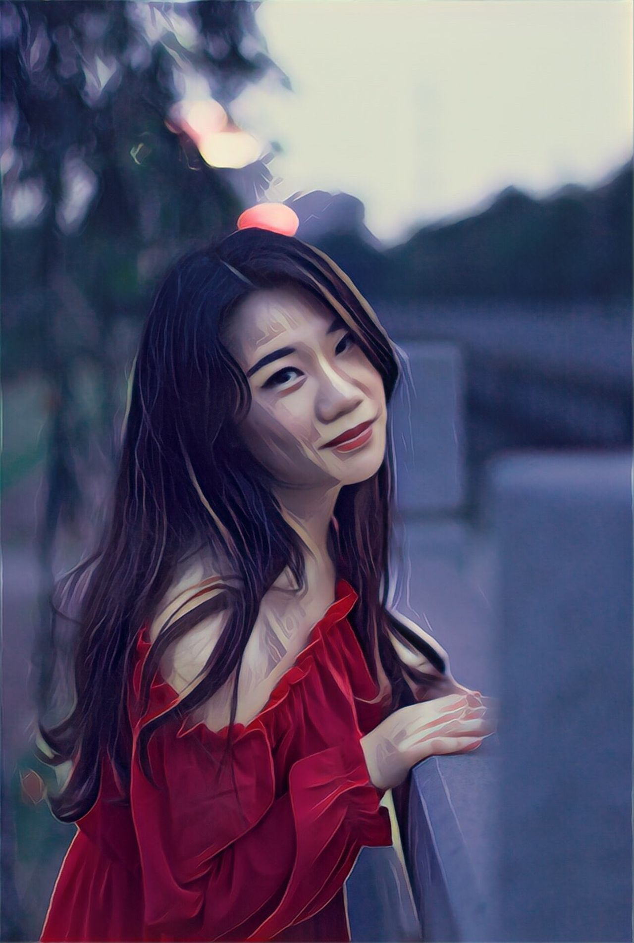 Myself Long Hair One Person Young Women Only Women Young Adult Myself Outdoors Red Red Dress