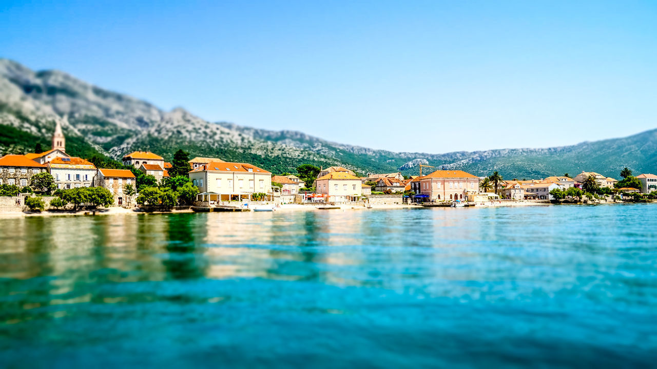 Orebic sea view Architecture Blue Clear Sky Coastline Cultures Day Hotel Landscape Mountain Mountain Range No People Orebic Outdoors Residential Building Scenics Sea Sky Swimming Pool Tourism Tourist Resort Travel Travel Destinations Vacations View Into Land Water