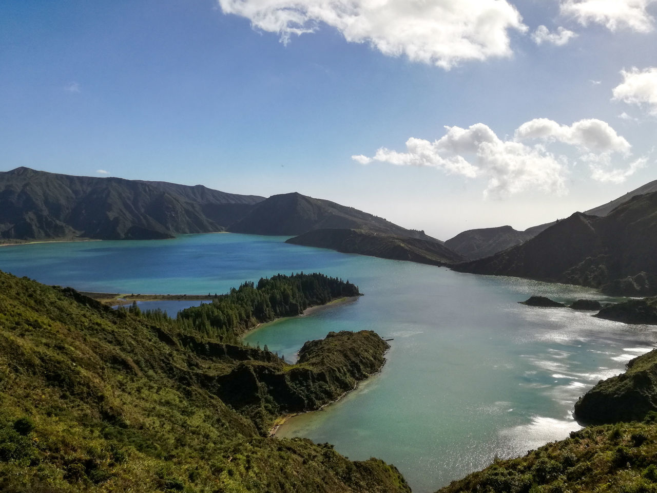 Landscape Mountain Lake Water Outdoors No People Tree Nature Sky Day Lakeside Lake View Contrast Travel Azores Freshness Tranquility Nature Scenics Blue Beauty In Nature Tranquil Scene Lakeview Lakes  Blue Sky