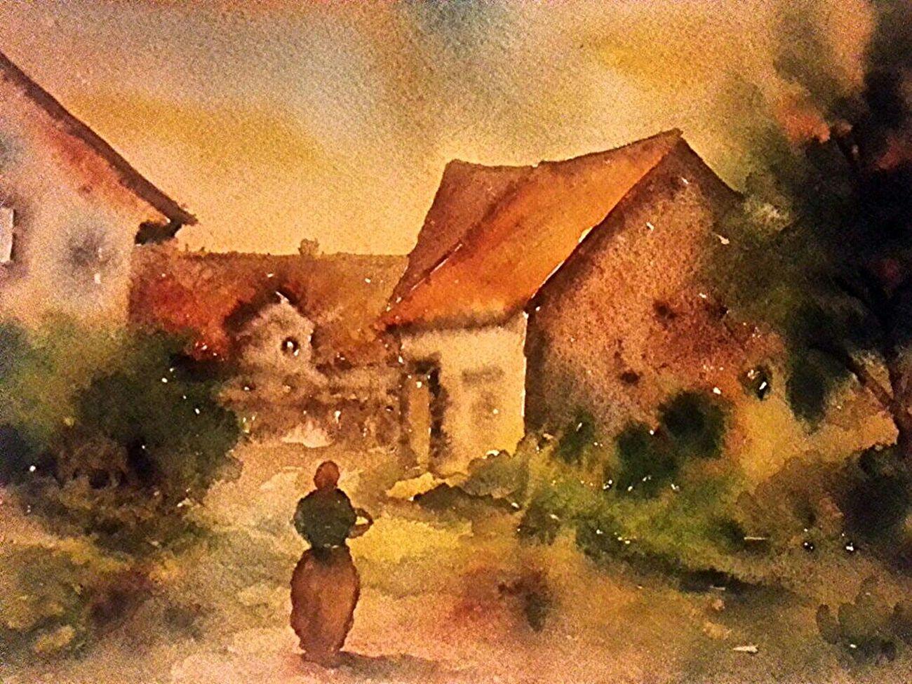 Morgennnebel in Herrhausen . Aquarell 36 x 48 cm 1983 . Art Painting Morning Fog