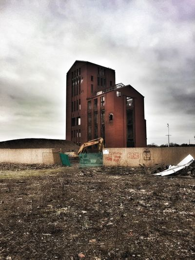 Architecture Built Structure Building Exterior Industrial Building  Derelict Building Building Site Excavator Fence Regeneration Moody Sky Brick Red Brick Tall Buildings