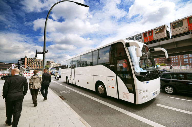 Baumwall Built Structure Bus Business People Casual Clothing City City Life City Street Cloud Cloud - Sky Cloudy Day Hamburg Journey Land Vehicle Leisure Activity Lifestyles Mode Of Transport Outdoors Road Sky Transportation Wide Angle View