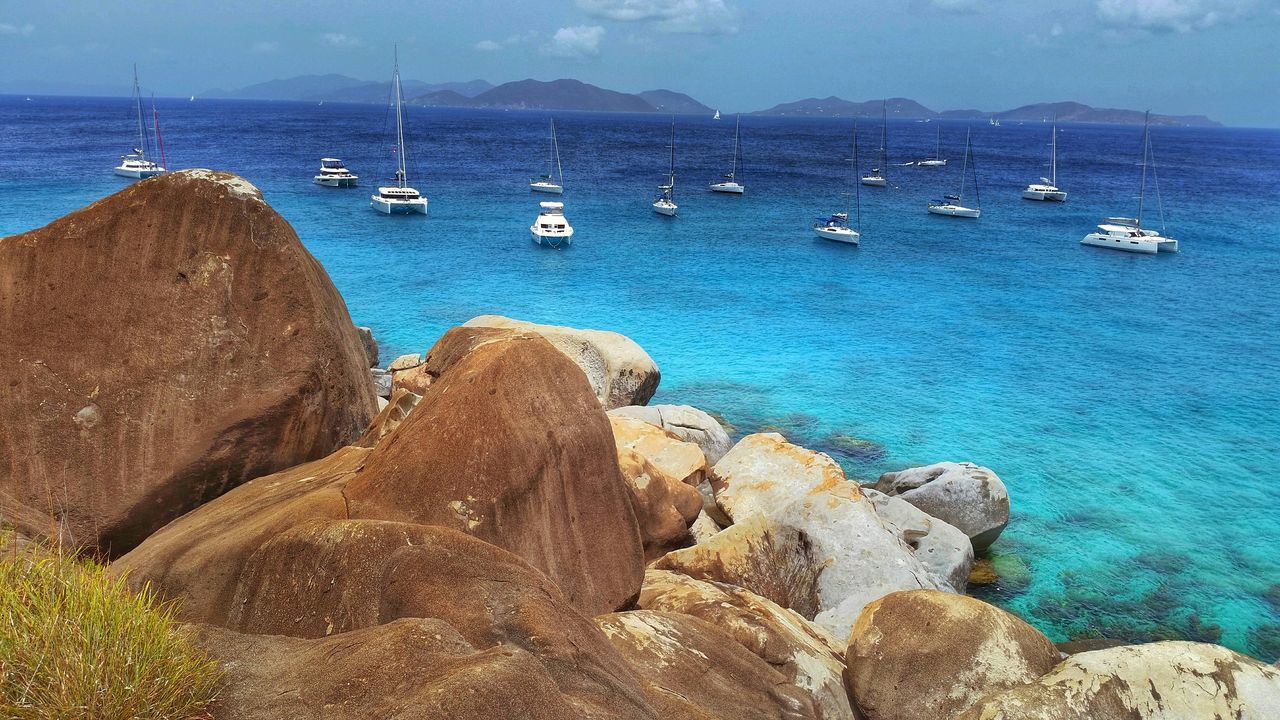 Boat Rocks Landscape Sailing Ocean Waves Shore British Virgin Islands EyeEm Best Shots - Nature The Baths