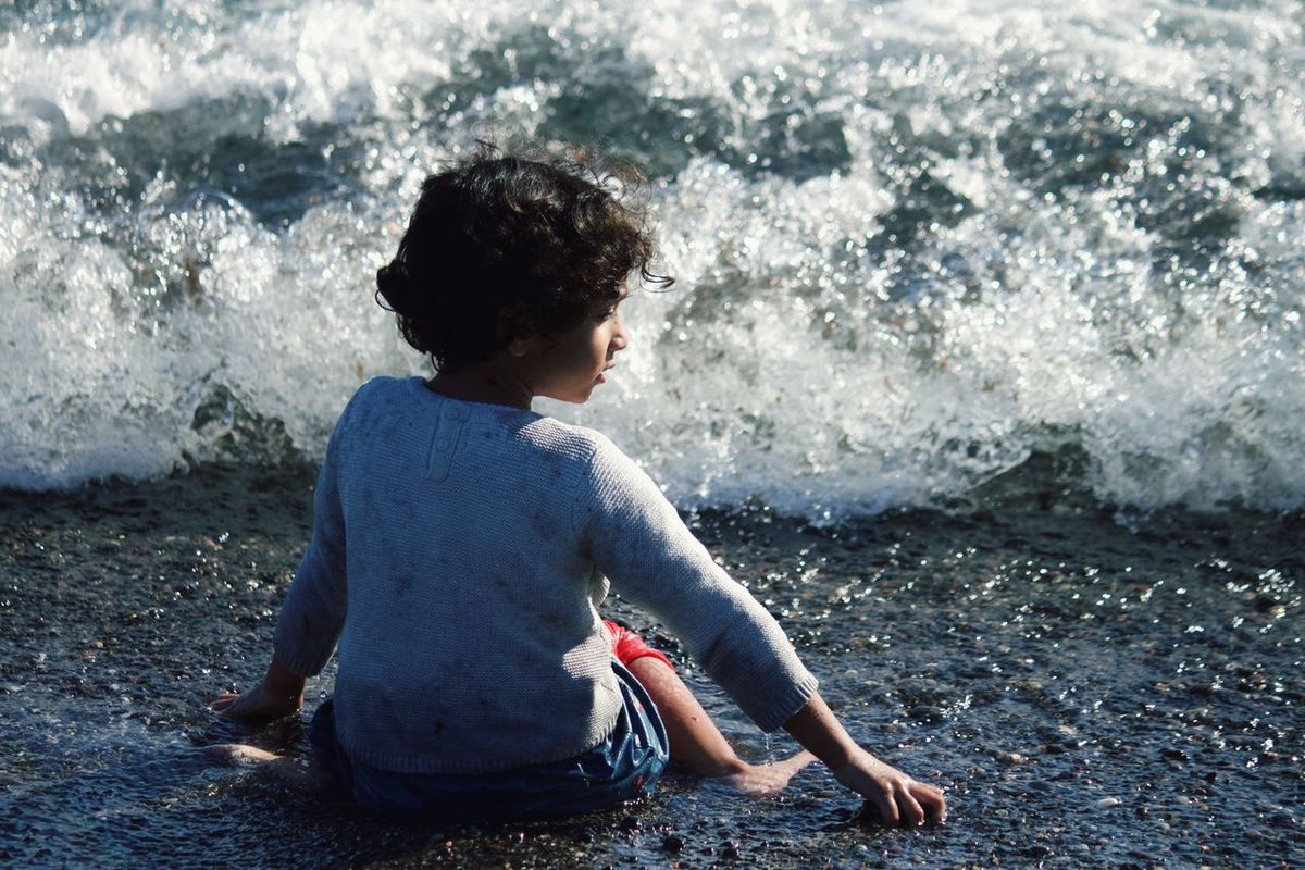 Beach Kid Enjoying Life Waves Simple Moments Child Greece Santorini Kamari Beach