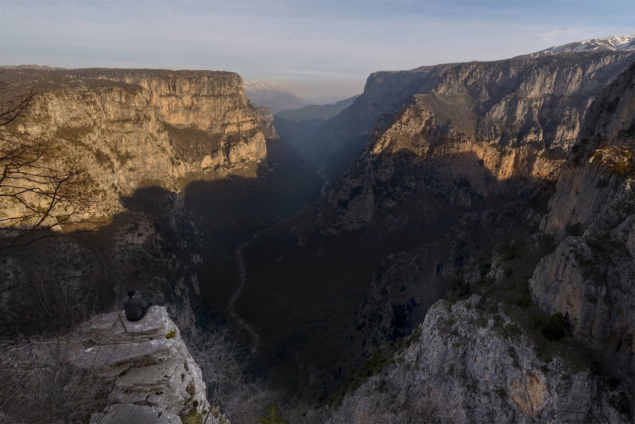 Me enjoying the view at Vikos gorge in the Epirus region in Greece Calm Canyon Drop Ellada  Enjoying Epirus Gorge Greece Hellas Hill Hills Human Landscape Man Mountain Mountains Nature Peaceful River Sunrise View Vikos Vikos Gorge Vista Watching