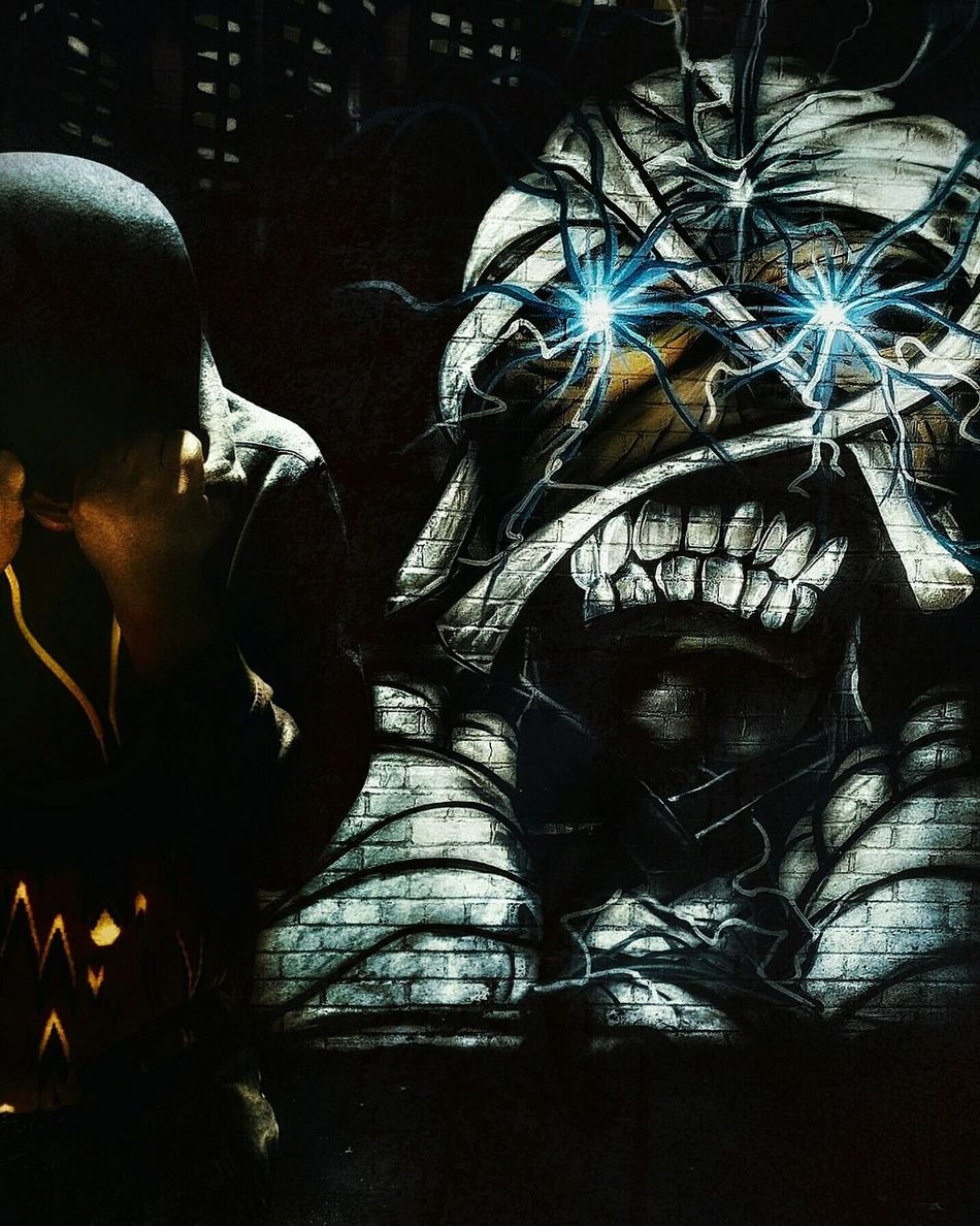 Righteous Anger x No Malice. The Portraitist - The 2016 EyeEm Awards The Street Photographer - 2016 EyeEm Awards Showcase: June Graffiti Art Streetphotography Dark Art Undead Night Photography Nightmare Zombie Mummy Passion Celly EyeEm Best Edits Dark Silhouette Standing In Front Of A Wall Self Portrait The Following The OO Mission