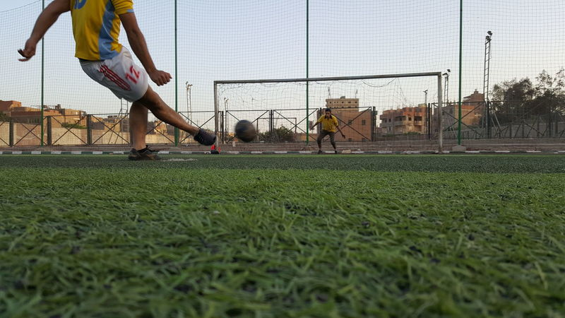 Shooting Penalty... Sport Playing Soccer Grass Ball Soccer Field Day Playing Field Shoot Keeper Goal Football Green Playground Penalty