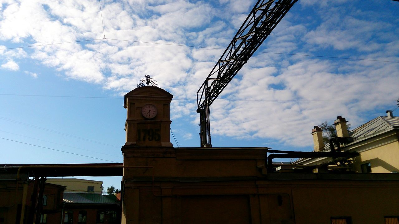 Clock Tower and Sky . Mobilephotography Mobile Photography Sony Xperia Zr Silhouette Silhouettes Sky And Clouds Blue Sky Industrial Industrial Area Light And Shadow Lines And Shapes Street Photography No People Light And Shadows Contrast Old Old Town Shadows & Lights