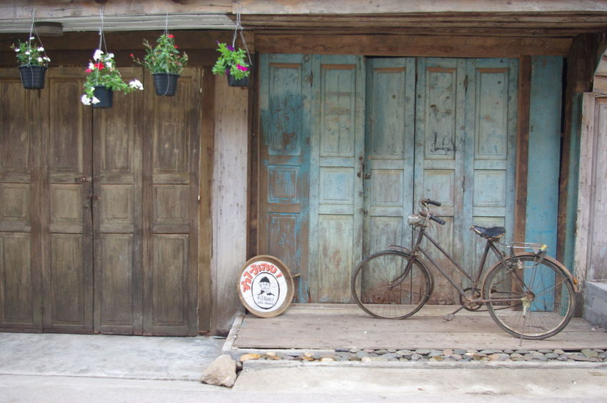 Architecture Bicycle Building Exterior Day Doors No People Wood - Material