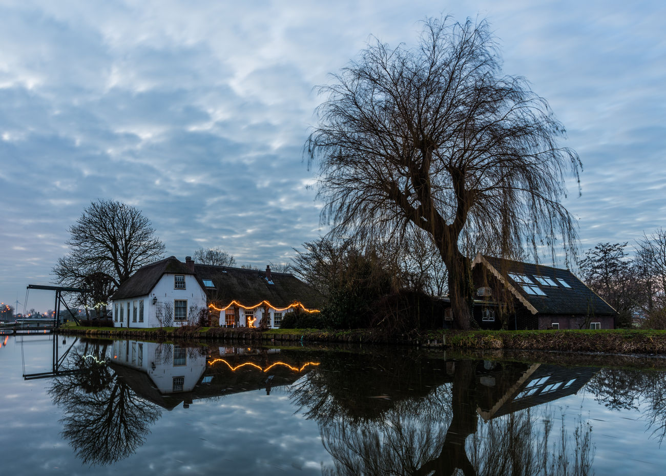 Bridge Christmass Dutch Countyside Dutch Landscape Expressive Sky Landscape Reflection Tree Water