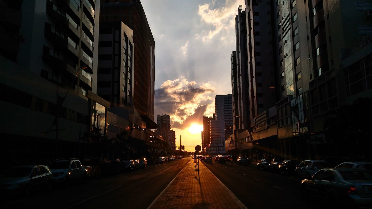 City Sunset Street Sun Sky Cloud End Day Sunshine Shadow Perspective No Filter