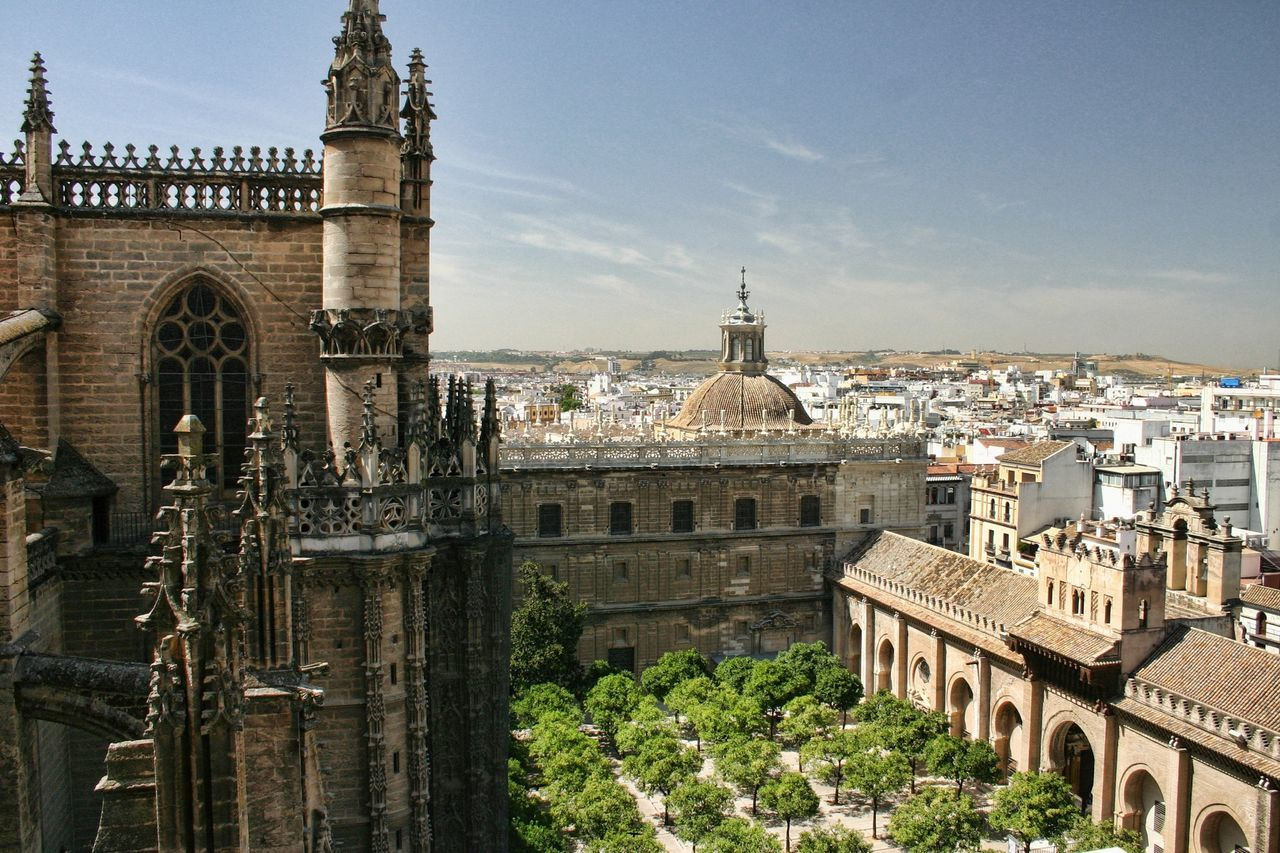 Seville Cathedral And Buildings In City Against Sky