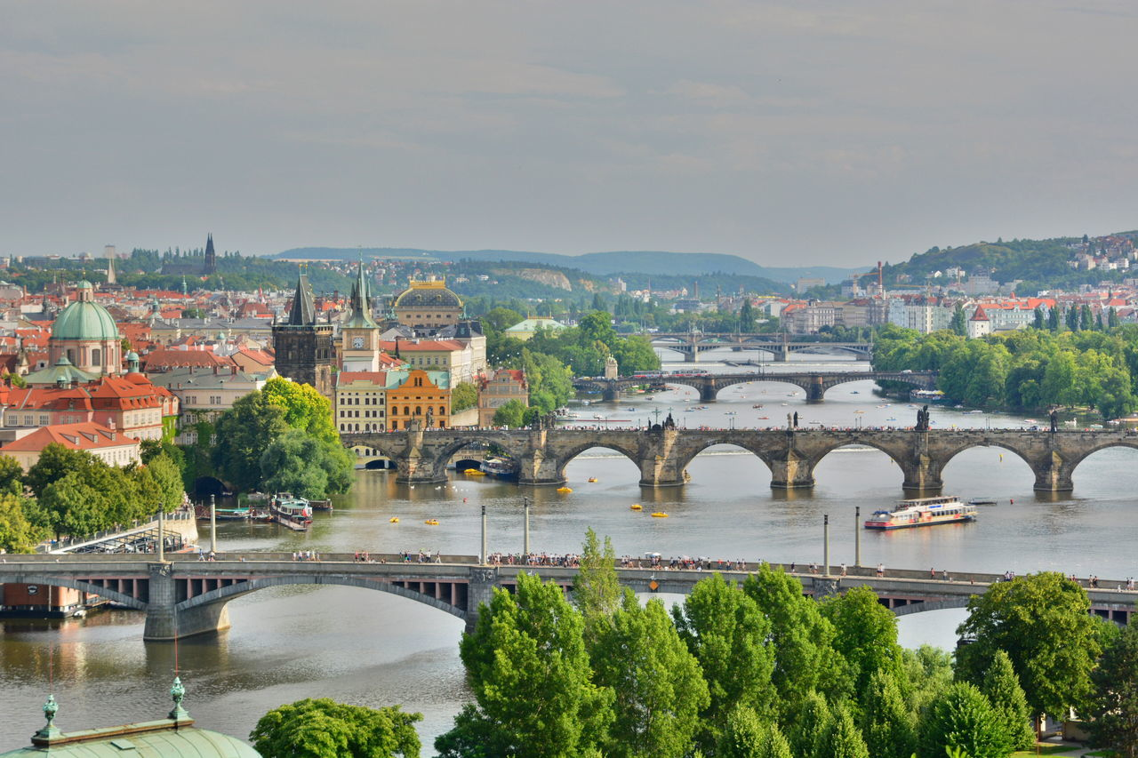 Vltava river. Prague. Czech Republic Aerial View Arch Architecture Bridge Bridge - Man Made Structure Bridges Built Structure Capital Cities  Charles Bridge City Cityscape Czech Republic Europe High Angle View History Landscape Prague River Touristic Destination Travel Travel Destinations View Vltava VltavaRiver