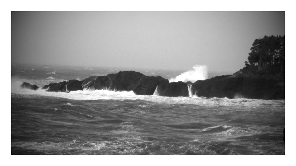 Depoe Bay, OR Crashing Waves  Sea Splashing Power In Nature No People Scenic Black And White Photography Rainy Day Rocks And Water