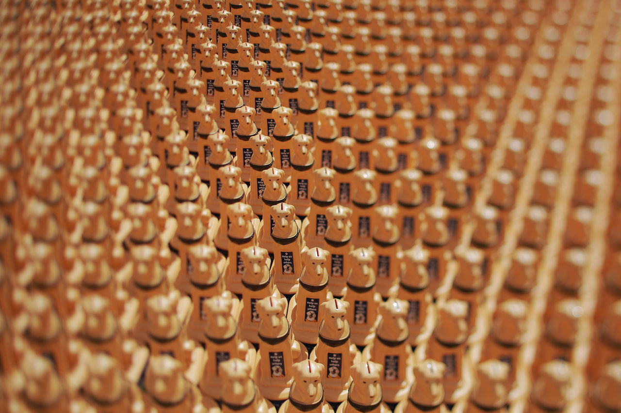 Help Us Help Others Arrangement Backgrounds Charity Event Coin Box Detail In A Row Large Group Of Objects Lens Effect Repetition Selective Focus Side By Side Still Life Tiltshift Color Palette Beautifully Organized