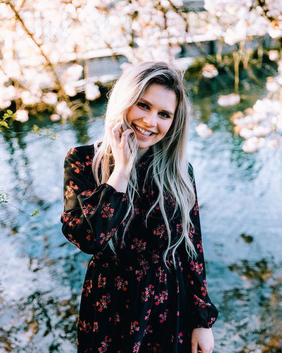 Spring shoot. Long Hair Beautiful Woman Smiling One Person Looking At Camera Blond Hair Focus On Foreground Portrait Water Young Adult Happiness Standing Beauty Nature Outdoors Real People Leisure Activity Young Women Day Lake