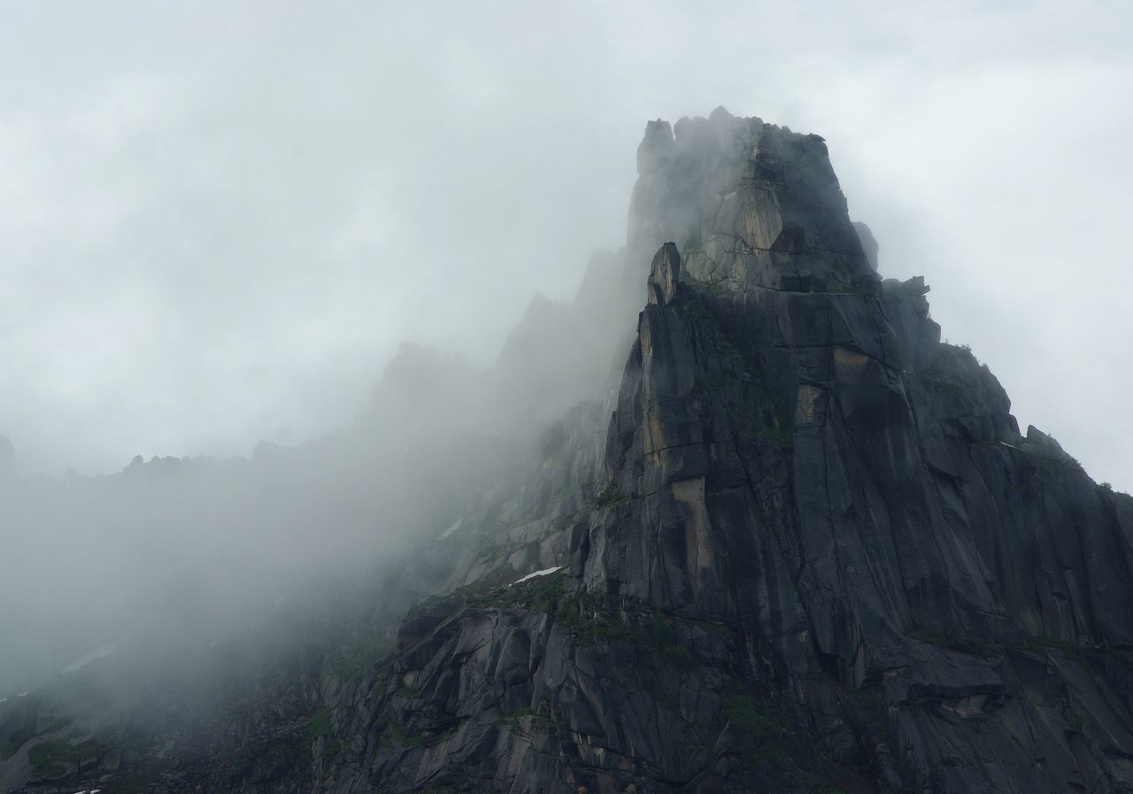 Beauty In Nature Cliff Cold Temperature Day Fog Foggy Geology Landscape Low Angle View Mist Mountain Nature No People Outdoors Physical Geography Rock - Object Rock Formation Scenics Sky Tranquil Scene Tranquility Travel Destinations Weather
