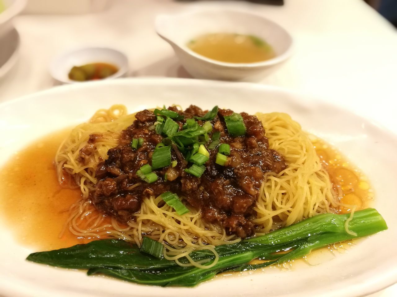 Hongkongfood Noodle Zhajiangmian Indoors  Food Plate Serving Size Meal Indulgence Vege Chinese Food Chinesefood Drynoodle Dry Noodles Pork