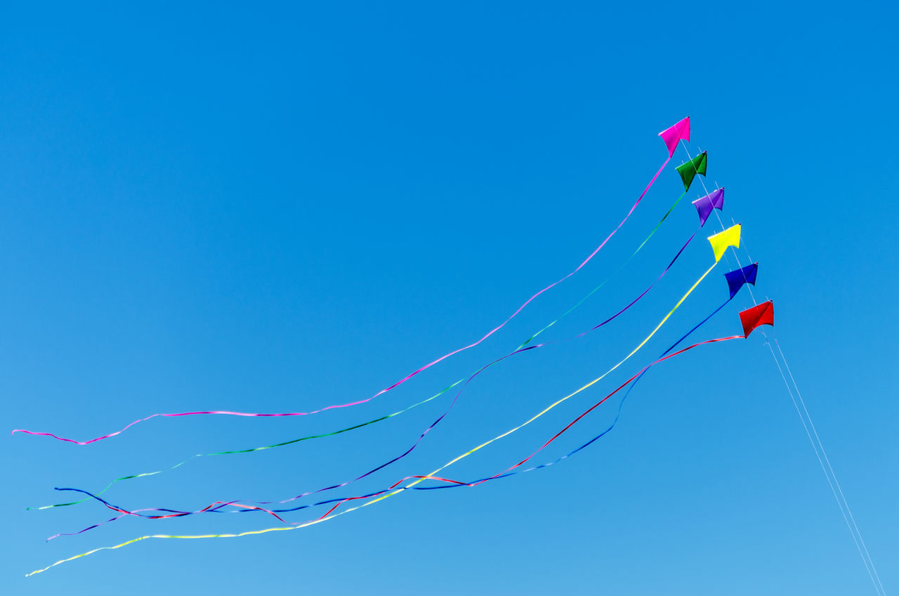 Rainbow colored kites flying against a beautiful blue sky Beach Beauty Coast Coastal Fly Flying Fun Kite Kites Landscape Lincoln City Lincoln City Beach Lincoln City, Oregon Oregon Oregon Coast Outdoor Outdoors Rainbow Sand Sea Summer Sunlight Texture Textured  Water